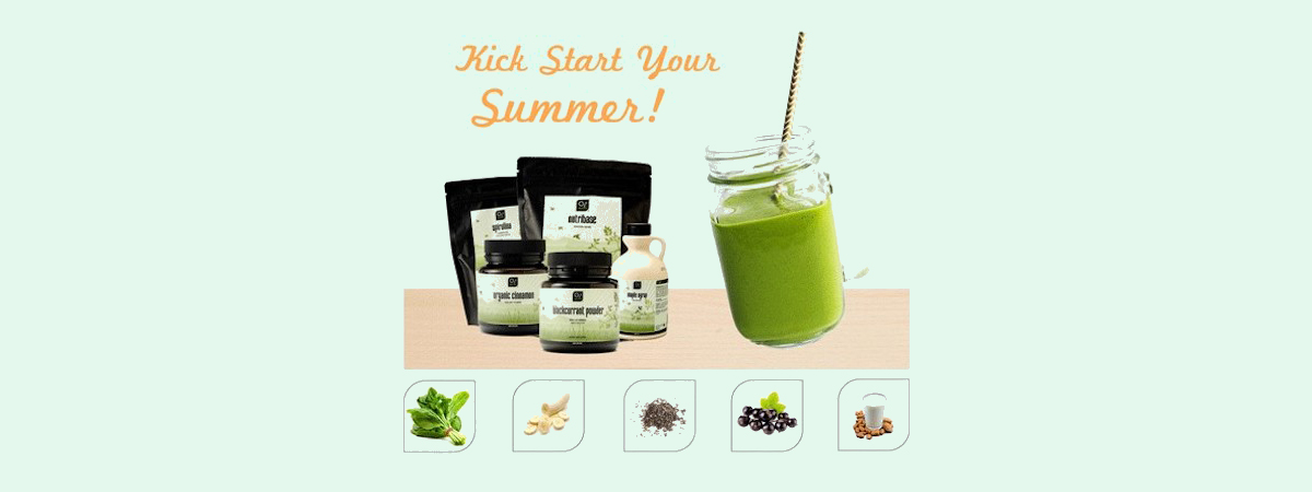 Image Of O2B Products And A Green Smoothie