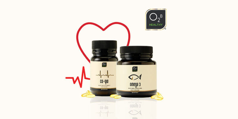 Image Of Omega 3 And Co-Q10 Supplements With A Background Heart